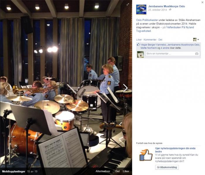 Facebook-bilde-fra konserten med kommentar fra Jernbanens musikkorps